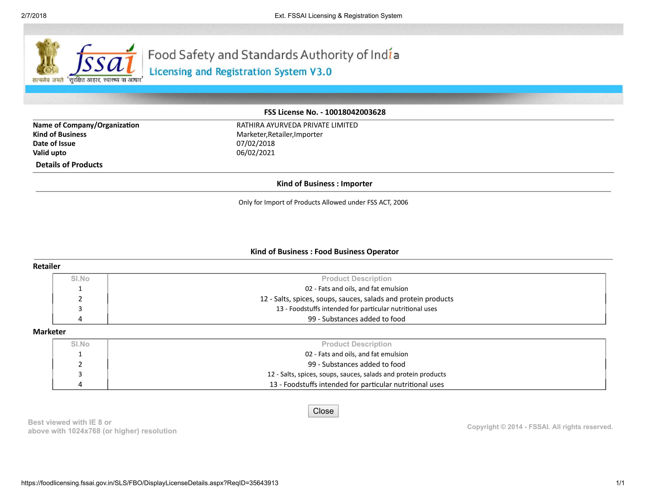 Certificate FSSAI